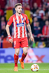 Saul Niguez Esclapez of Atletico de Madrid in action during the UEFA Europa League quarter final leg one match between Atletico Madrid and Sporting CP at Wanda Metropolitano on April 5, 2018 in Madrid, Spain. Photo by Diego Souto / Power Sport Images