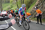 David Gaudu (FRA) Groupama-FDJ leads Green Jersey Primoz Roglic (SLO) Team Jumbo-Visma up the final climb of Arrate during Stage 6 of the Itzulia Basque Country 2021, running 111.9km from Ondarroa to Arrate, Spain. 10th April 2021.  <br /> Picture: Luis Angel Gomez/Photogomezsport | Cyclefile<br /> <br /> All photos usage must carry mandatory copyright credit (© Cyclefile | Luis Angel Gomez/Photogomezsport)