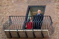 Monica Bellucci e Daniel Craig<br /> Roma 18-02-2015 Campidoglio. In occasione del'inizio delle riprese del nuovo 007 a Roma, visita dei due attori al Campidoglio.<br /> Due to the new dil of James Bond, 007, that will be set in Rome, actors Daniel Craig and Monica Bellucci visit the Campidoglio<br /> Photo Samantha Zucchi Insidefoto