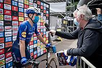 Fabio Jakobsen (NED/Deceuninck - Quick Step) interviewed at the race start<br /> <br /> Heylen Vastgoed Heistse Pijl 2021 (BEL)<br /> One day race from Vosselaar to Heist-op-den-Berg (BEL/193km)<br /> <br /> ©kramon