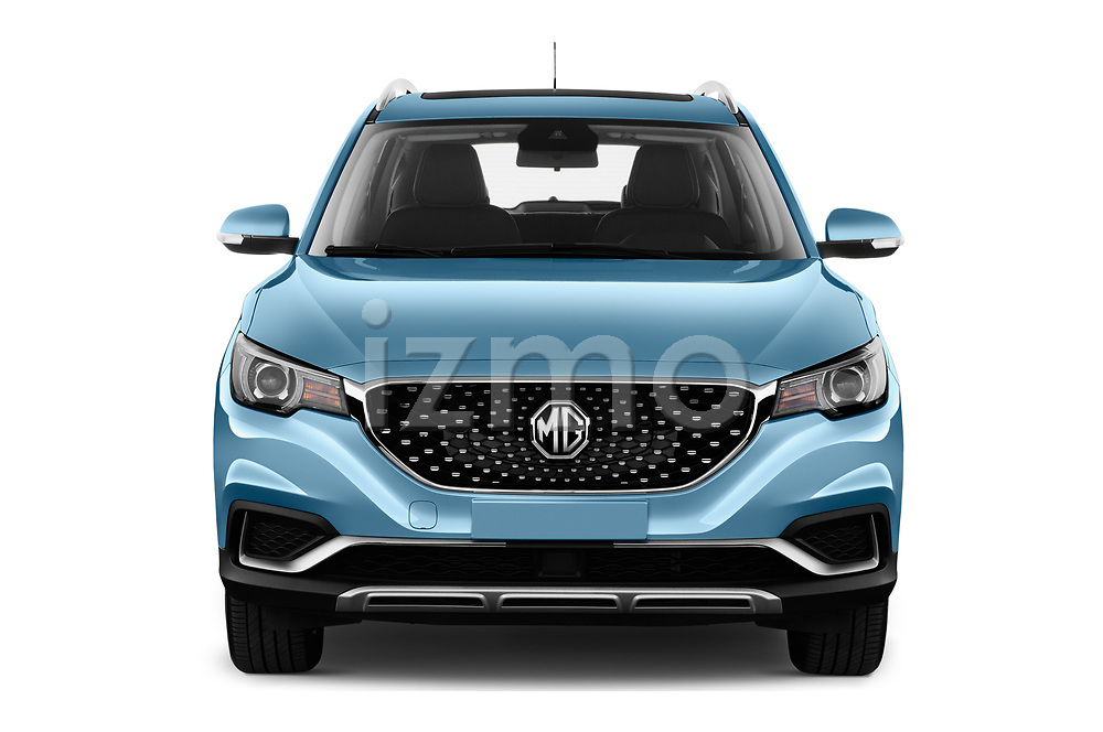 Car photography straight front view of a 2020 Mg MG-ZS-EV Luxury 5 Door SUV Front View