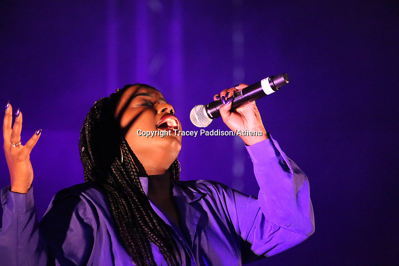 Saturday August 16th 2014  <br /> Picture: Misha B<br /> RE: Former X Factor semi-finalist singer Misha B performing on stage at Pride Cymru in Coopers Field, Cardiff, South Wales, United Kingdom.
