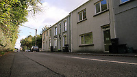 Pictured: Some of the affected terraced houses. Thursday 31 August 2017<br /> Re: Home owners and tennants have been served to evacuation orders by Neath Port Talbot County Council over fears that a landslip has made their houses unsafe in Cyfyng Road, Ystalyfera, Wales, UK.
