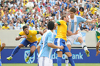 Argentina defender Federico Fernandez (17) head the ball. The Argentina National Team defeated Brazil 4-3 at MetLife Stadium, Saturday July 9 , 2012.