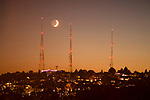 TV Towers with Crescent Moon