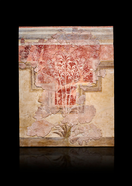 Minoan fresco panel from the 'Lily Frescoes' from the 'Villa of the Lilies' Amnisos, 1600-1500 BC. Heraklion Archaeological Museum. Black Background. <br /> <br /> Ths freco depicts white lilies against a red background and red lilies against w white backgoround with long stems in front of a fence. The wall art uses fresco and 'in cavo' technique. Neopalatial Period.