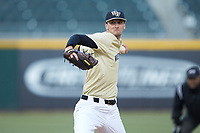 Wake Forest Demon Deacons starting pitcher Carter Bach (18) in action against the Charlotte 49ers at BB&T BallPark on March 13, 2018 in Charlotte, North Carolina.  The 49ers defeated the Demon Deacons 13-1.  (Brian Westerholt/Four Seam Images)