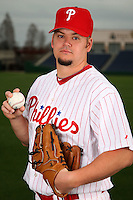 February 24, 2010:  Pitcher Joe Blanton (56) of the Philadelphia Phillies poses during photo day at Bright House Field in Clearwater, FL.  Photo By Mike Janes/Four Seam Images