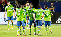 CARSON, CA - SEPTEMBER 27: Kelvin Leerdam #18 and Nicolas Lodeiro #10 of the Seattle Sounders celebrate a Jordan Morris #13 goal during a game between Seattle Sounders FC and Los Angeles Galaxy at Dignity Heath Sports Park on September 27, 2020 in Carson, California.