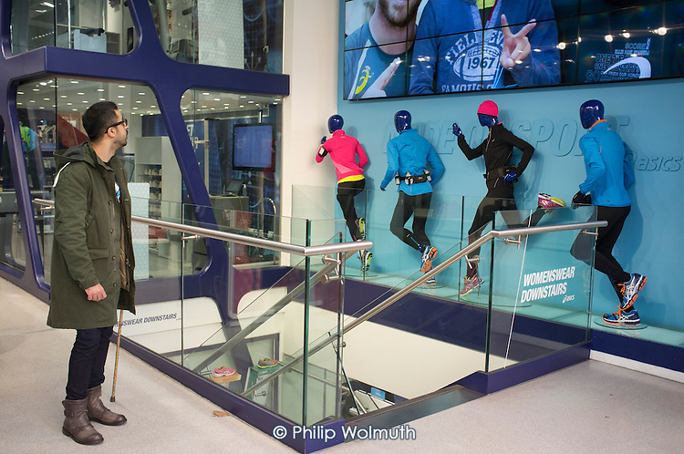 Japanese sportswear brand ASICS flagship London store, Oxford Street.