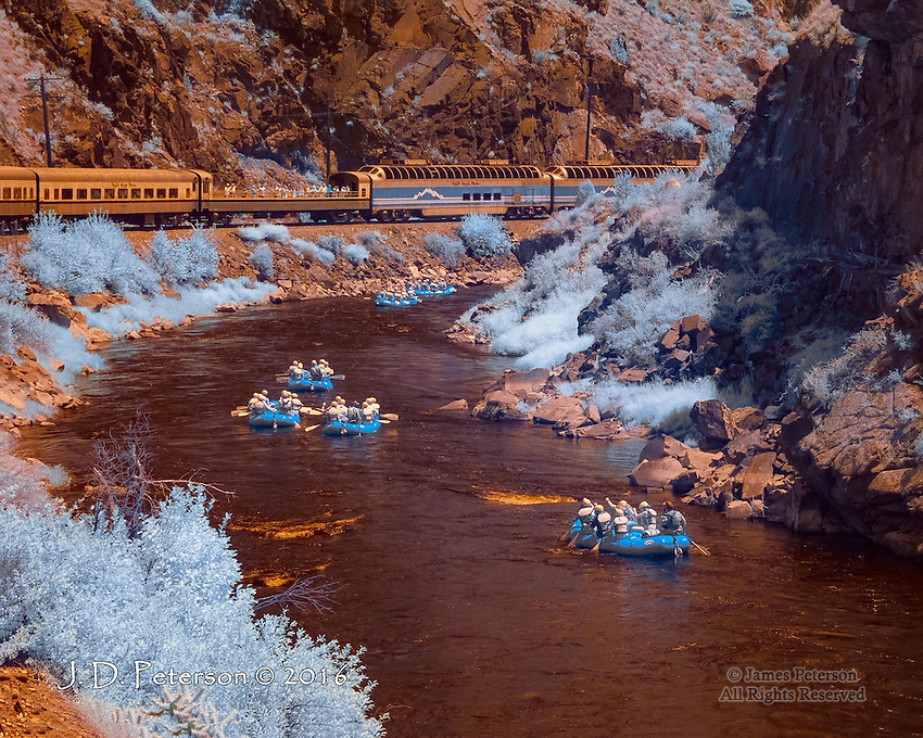 Royal Gorge Route, Colorado (Infrared) ©2016 James D Peterson.  This historic rail route follows the Arkansas River through one of the wrold's more spectacular canyons.