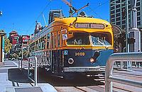 San Francisco:  Ferry Building Plaza--vintage streetcar.