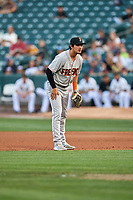 Josh Rojas (29) of the Fresno Grizzlies on defense against the Salt Lake Bees at Smith's Ballpark on September 3, 2017 in Salt Lake City, Utah. The Bees defeated the Grizzlies 10-8. (Stephen Smith/Four Seam Images)