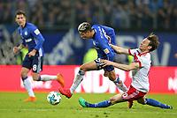 07.04.2018, Football 1. Bundesliga 2017/2018, 29.  match day, Hamburger SV - FC Schalke 04, Volksparkstadium Hamburg.  Amine Harit (Schalke)  -  Albin Ekdal (Hamburg)  *** Local Caption *** © pixathlon<br /> <br /> Contact: +49-40-22 63 02 60 , info@pixathlon.de