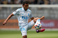 LOS ANGELES, CA - MAY 29: Eddie Segura #4 of LAFC traps a ball during a game between New York City FC and Los Angeles FC at Banc of California Stadium on May 29, 2021 in Los Angeles, California.