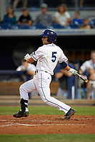 Charlotte Stone Crabs second baseman Brandon Lowe (5) follows through on a swing during a game against the Palm Beach Cardinals on April 11, 2017 at Charlotte Sports Park in Port Charlotte, Florida.  Palm Beach defeated Charlotte 12-6.  (Mike Janes/Four Seam Images)
