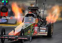 Nov. 10, 2011; Pomona, CA, USA; NHRA top fuel dragster driver Terry McMillen during qualifying at the Auto Club Finals at Auto Club Raceway at Pomona. Mandatory Credit: Mark J. Rebilas-.
