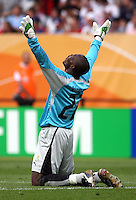 Ghana goalkeeper Richard Kingson celebrates after the final whistle. Ghana defeated the USA 2-1 in their FIFA World Cup Group E match at Franken-Stadion, Nuremberg, Germany, June 22, 2006. Ghana advances to round of 16 and the USA is out of the tournament.