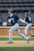 Joey Bart (9) of the Georgia Tech Yellow Jackets follows through on his swing against the Wake Forest Demon Deacons at David F. Couch Ballpark on March 26, 2017 in  Winston-Salem, North Carolina.  The Demon Deacons defeated the Yellow Jackets 8-4.  (Brian Westerholt/Four Seam Images)