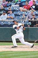 Johan Quevedo (16) of the Everett AquaSox bats during a game against the Spokane Indians at Everett Memorial Stadium on July 24, 2015 in Everett, Washington. Everett defeated Spokane, 8-6. (Larry Goren/Four Seam Images)
