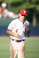 Chris Ellison of the Oklahoma Sooners playing in Game Two of the NCAA Super Regional tournament against the Virginia Cavaliers at Charlottesville, VA - 06/13/2010. Oklahoma defeated Virginia, 10-7, to tie the series after two games.  Photo By Bill Mitchell / Four Seam Images