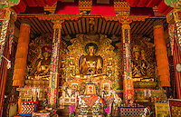 Kathmandu Nepal Golden Buddha of the Drikung Kagyu Rinchenling monastery. Eastern Kathmandu.