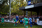 Action during the first-half at the UTS Stadium during the FA Cup fourth qualifying round match between Dunston UTS (in blue) and their local rivals Gateshead. Founded in 1975, the home team were formerly known as Dunston Federation. The visitors won 4-0 watched by a record crowd of 2,500.