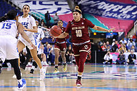 GREENSBORO, NC - MARCH 06: Makayla Dickens #10 of Boston College brings the ball up the court during a game between Boston College and Duke at Greensboro Coliseum on March 06, 2020 in Greensboro, North Carolina.