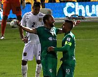 BOGOTA-COLOMBIA, 18-09-2020: Matias Mier de La Equidad, celebra con Stalin Motta el segundo gol anotado a Boyaca Chico F.C., durante partido entre La Equidad y Boyaca Chico F.C. de la fecha 9 por la Liga BetPlay DIMAYOR I 2020, jugado en el estadio Metropolitano de Techo en la ciudad de Bogota. / Matias Mier of La Equidad celebrates with Stalin Motta the second scored goal to Boyaca Chico F.C., during a match La Equidad and Boyaca Chico F.C., of the 9th date for of BetPlay DIMAYOR League I 2020 at the Metropolitano de Techo stadium in Bogota city. / Photo: VizzorImage  / Santiago Cortes / Cont.