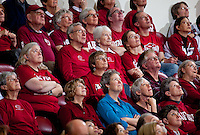 STANFORD, CA - December 12, 2010: Fans of the Stanford Cardinal women's basketball team watch the scoreboard during Stanford's victory over Fresno State. Stanford won 77-40.