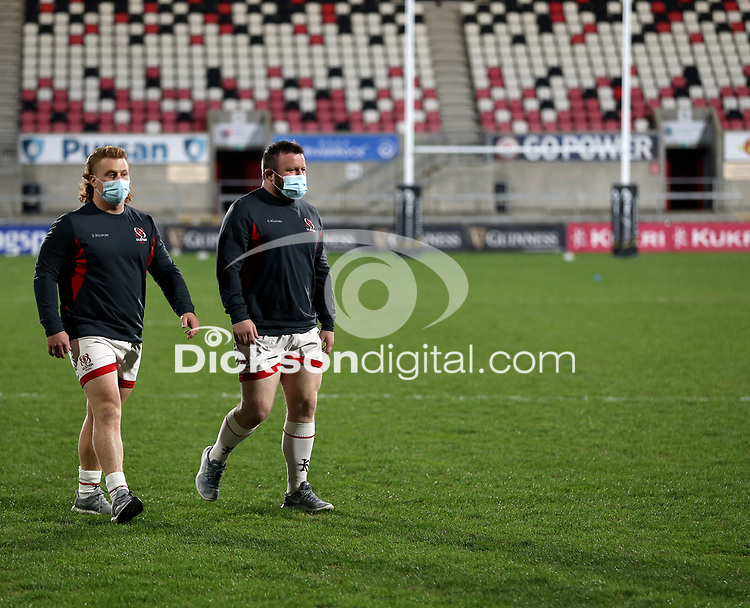 26 February 2021; Brad Roberts and Andrew Warwick before the Guinness PRO14 match between Ulster and Ospreys at Kingspan Stadium in Belfast. Photo by John Dickson/Dicksondigital