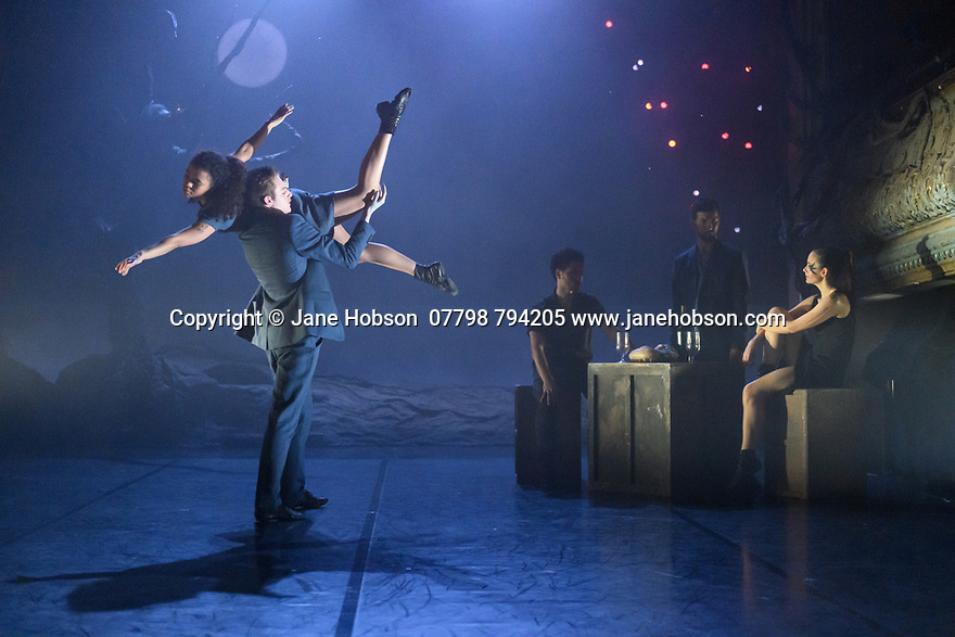 """London, UK. 27.02.20. Mark Bruce Company presents """"Return to Heaven"""", at Wilton's Music Hall. Written and choreographed by Mark Bruce, with costume design by Dorothee Brodruck, lighting design by Guy Hoare, and set design by Phil Eddolls. The dancers are: Jordi Calpe-Serrats, Eleanor Duval, Carina Howard, Dane Hurst, Sharol Mackenzie, Christopher Thomas. Sharol Mackenzie, Christopher Thomas, Dane Hurst, Jordi Calpe-Serrats, Eleanor Duval. Photograph © Jane Hobson."""