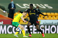 20th April 2021; Carrow Road, Norwich, Norfolk, England, English Football League Championship Football, Norwich versus Watford; Ismaila Sarr of Watford takes on Oliver Skipp of Norwich City