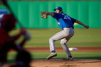 Dunedin Blue Jays pitcher Nick Frasso (26) delivers the first pitch of his professional career during a game against the Clearwater Threshers on May 20, 2021 at BayCare Ballpark in Clearwater, Florida.  (Mike Janes/Four Seam Images)