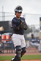 New York Yankees Hemmanuel Rosario (10) during a Minor League Spring Training game against the Atlanta Braves on March 12, 2019 at New York Yankees Minor League Complex in Tampa, Florida.  (Mike Janes/Four Seam Images)