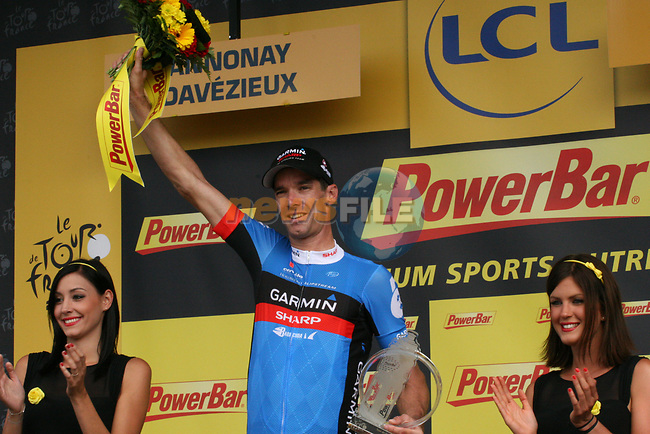 David Millar (GBR) Garmin-Sharp wins Stage 12 of the 99th edition of the Tour de France 2012, running 148km from Saint-Jean-de-Maurienne to Annonay-Davezieux, France. 13th July 2012.<br /> (Photo by Thomas van Bracht/NEWSFILE)