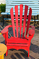 Red wooden deck chair, Peggy's Cove; Nova Scotia; Canada