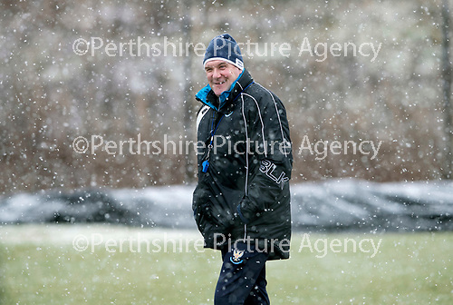 St Johnstone Training…22.01.19   McDiarmid Park<br />Manager Tommy Wright is all smiles during a snowy training session this morning ahead of tomorrw night's game against Livingston.<br />Picture by Graeme Hart.<br />Copyright Perthshire Picture Agency<br />Tel: 01738 623350  Mobile: 07990 594431