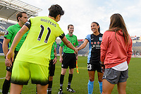 Chicago, IL - Sunday Sept. 04, 2016: Keelin Winters, Christen Press prior to a regular season National Women's Soccer League (NWSL) match between the Chicago Red Stars and Seattle Reign FC at Toyota Park.