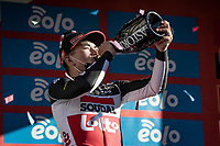 runner-up finisher Caleb Ewan (AUS/Lotto-Soudal) on the podium<br /> <br /> 112th Milano-Sanremo 2021 (1.UWT)<br /> 1 day race from Milan to Sanremo (299km)<br /> <br /> ©kramon