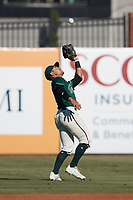 Greensboro Grasshoppers second baseman Nick Gonzales (2) catches a pop fly in shaloow right field during the game against the Hudson Valley Renegades at First National Bank Field on September 2, 2021 in Greensboro, North Carolina. (Brian Westerholt/Four Seam Images)