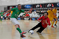 Nick Carrick of Central and Daniel Robinson of Southern during the Men's Futsal SuperLeague, Central Futsal v Southern United Futsal at ASB Sports Centre, Wellington on Saturday 31 October 2020.<br /> Copyright photo: Masanori Udagawa /  www.photosport.nz