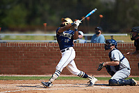 Noah Jones (26) of the Queens Royals at bat during game two of a double-header against the Catawba Indians at Tuckaseegee Dream Fields on March 26, 2021 in Kannapolis, North Carolina. (Brian Westerholt/Four Seam Images)