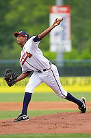 Starting pitcher Ronan Pacheco #32 of the Rome Braves delivers a pitch to the plate against the Hagerstown Suns at State Mutual Stadium on May 1, 2011 in Rome, Georgia.   Photo by Brian Westerholt / Four Seam Images