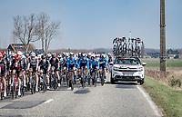 teamcar passing through the peloton<br /> <br /> 45th Oxyclean Classic Brugge-De Panne 2021 (ME/1.UWT)<br /> 1 day race from Bruges to De Panne (204km)<br /> <br /> ©kramon