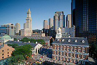 Quincy Market, Faneuil Hall & Customs House skyline, Boston, MA Cradle of Liberty