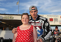 Lakeside Hammers special guest for the evening with Lewis Bridger - Lakeside Hammers vs Wolverhampton Wolves, Elite League Speedway at the Arena Essex Raceway, Pufleet - 04/07/14 - MANDATORY CREDIT: Rob Newell/TGSPHOTO - Self billing applies where appropriate - 0845 094 6026 - contact@tgsphoto.co.uk - NO UNPAID USE