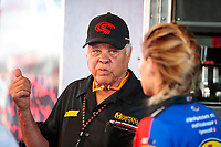 Nov 17, 2019; Pomona, CA, USA; NHRA former driver Don Prudhomme during the Auto Club Finals at Auto Club Raceway at Pomona. Mandatory Credit: Mark J. Rebilas-USA TODAY Sports