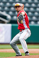 Rob Elliott (7) of the Bradley Braves fields a ground ball during a game against the Missouri State Bears on May 13, 2011 at Hammons Field in Springfield, Missouri.  Photo By David Welker/Four Seam Images
