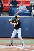 Luke Ritter (19) of the Wichita State Shockers bats against the Cal State Fullerton Titans at Goodwin Field on March 13, 2016 in Fullerton, California. Cal State Fullerton defeated Wichita State, 7-1. (Larry Goren/Four Seam Images)